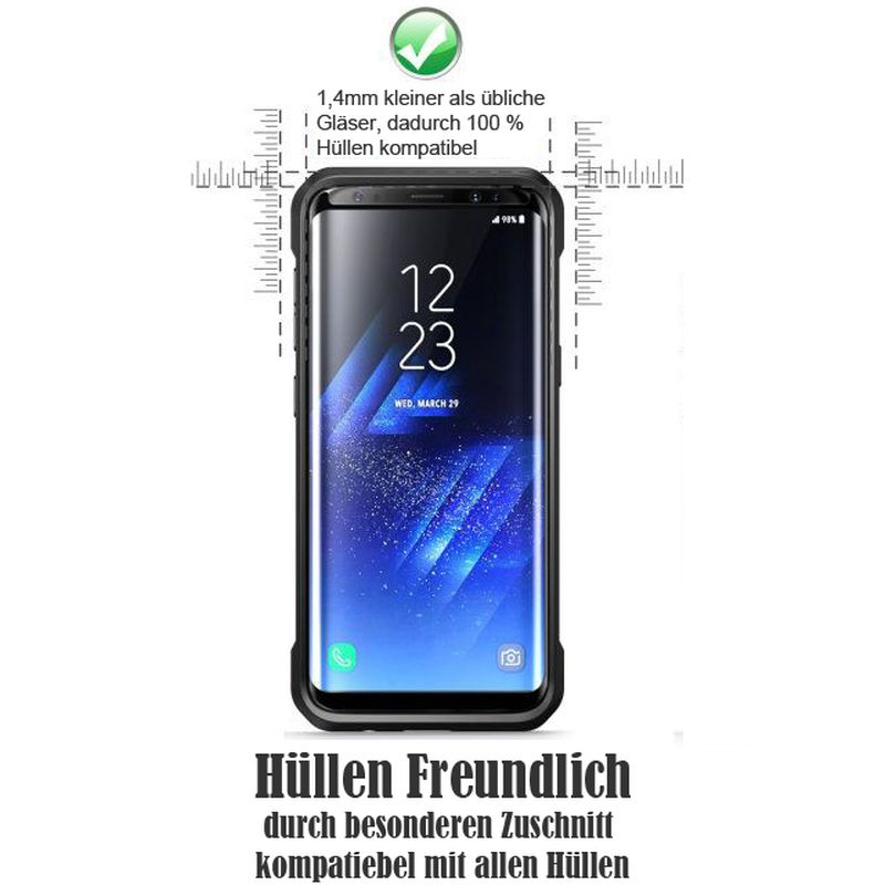 Samsung Galaxy S8 3D Schutzglas case friendly klar