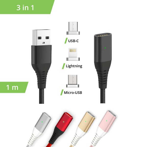 3in1 magnetisches ladekabel usb type c lightning micro usb. Black Bedroom Furniture Sets. Home Design Ideas