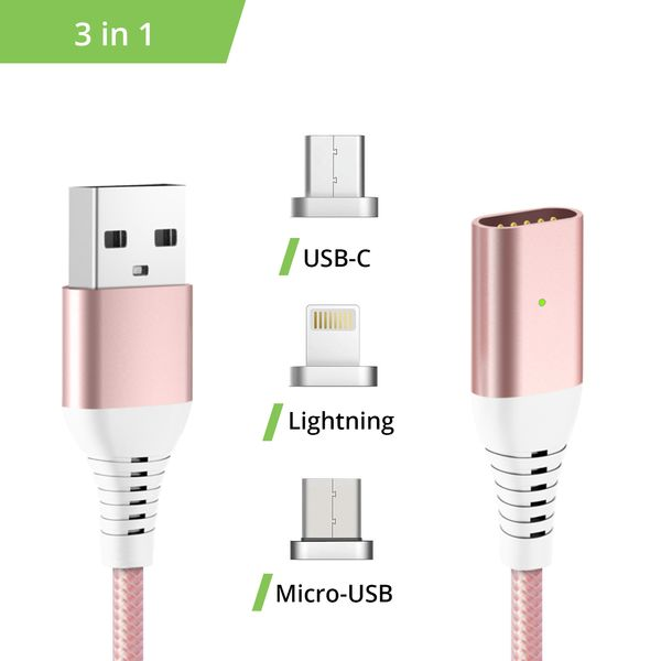 3in1 magnetisches Ladekabel USB Type C - Lightning - Micro USB