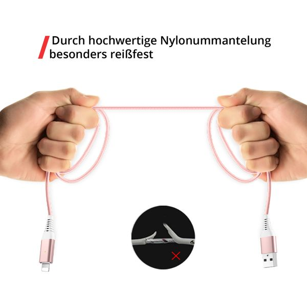 3in1 magnetisches Ladekabel USB Type C - Lightning - Micro USB rosé
