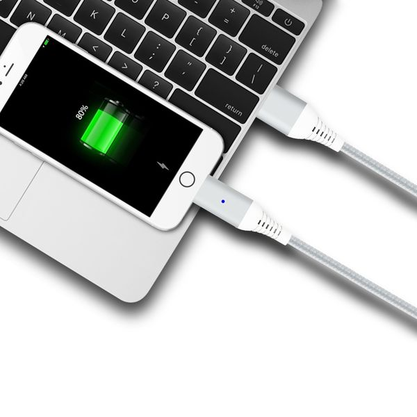3in1 magnetisches Ladekabel USB Type C - Lightning - Micro USB silber