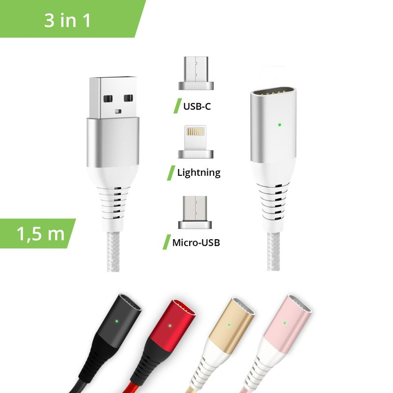 3in1 magnetisches 1,5m Ladekabel USB Type C - Lightning -...