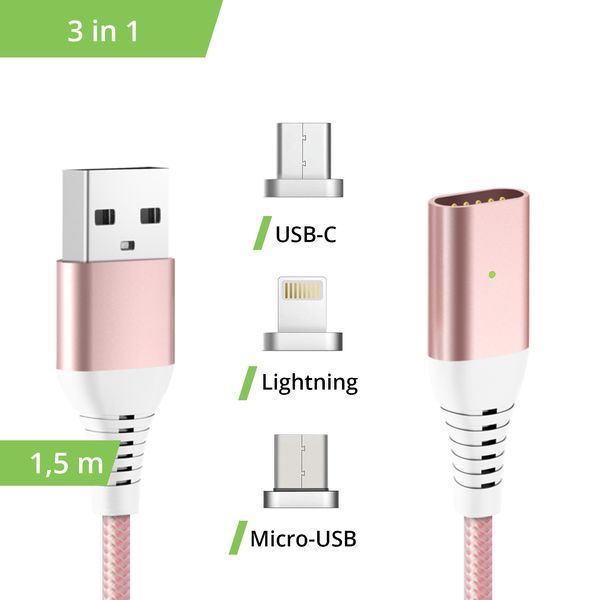 3in1 magnetisches 1,5m Ladekabel USB Type C - Lightning - Micro USB