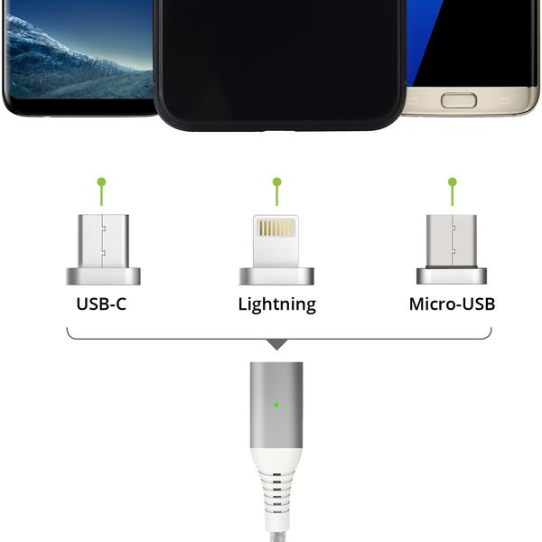 3in1 magnetisches 1,5m Ladekabel USB Type C - Lightning - Micro USB silber