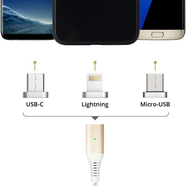 3in1 magnetisches 1,5m Ladekabel USB Type C - Lightning - Micro USB gold